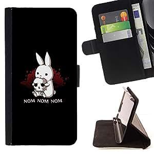 For Samsung Galaxy J1 J100 Case , Orejas Nom conejito Scull de Halloween Oscuro- la tarjeta de Crédito Slots PU Funda de cuero Monedero caso cubierta de piel