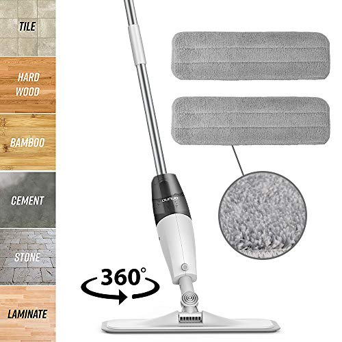 OUNUO Floor Mop with 3 Free Reusable Microfiber Pads, 360 Rotation Handle Spray Mop for Home Kitchen Hardwood Laminate Wood Ceramic Tiles Floor Cleaning (White)