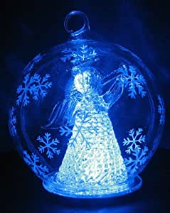 Color Changing LED Glass Globe Angel w/ Horn Ornament