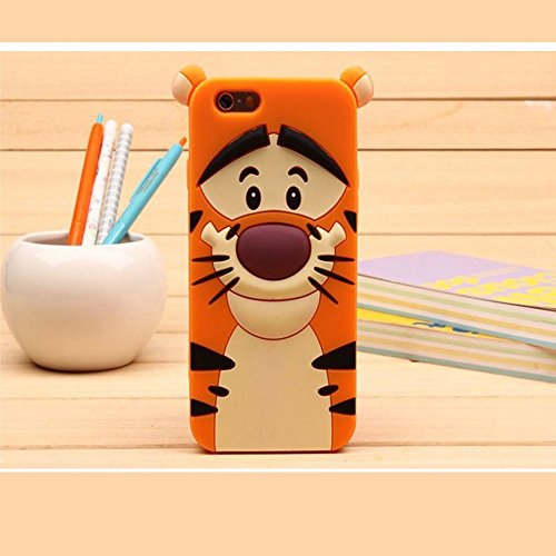 Cute Cartoon 3D Disney Monster University Animals Soft Silicone Back Cases Covers for Apple iPhone 5 5G 5S (The Jump Tigger)