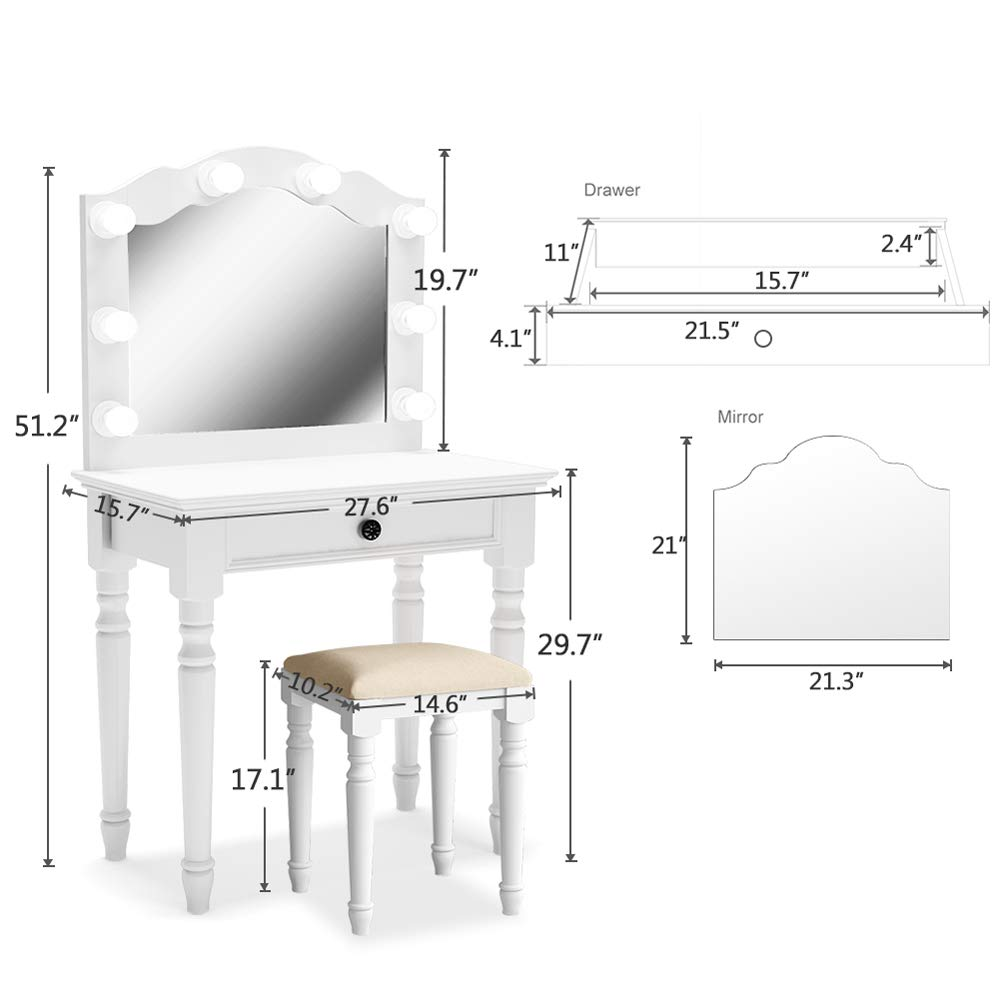 Tribesigns White Vanity Set with Lighted Mirror, Makeup Dressing Table and Stool Set with Large Drawer, Dresser Table Set for Women (White) by Tribesigns (Image #8)