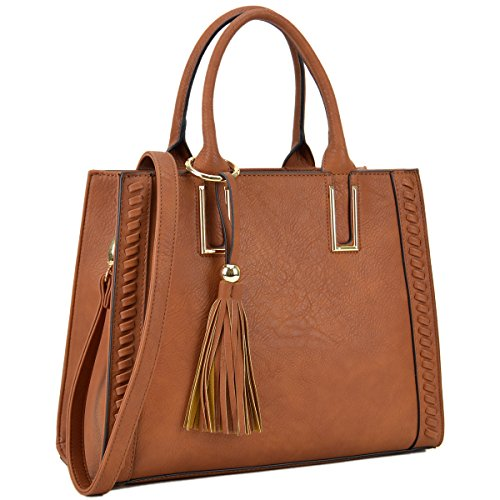 Lady Tassel Designer Satchel Handbags Vegan Leather Purses Shoulder Bags for Women with Shoulder Strap by Dasein