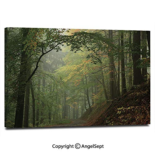 Tree Outdoor Canvas Painting - Modern Salon Theme Mural Misty Autumn Forest with Shaded Trees Foggy Dreamy Woodland Scene Decorative Painting Canvas Wall Art for Home Decor 24x36inches, Olive and Reseda Green Brown