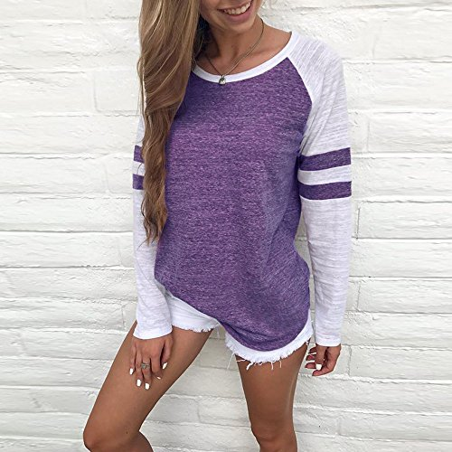 Walaka vtements Shirt Longue Dames Femmes Tops Tee pissure Manche Chemisier Mode Violet 6O1Rxrw6