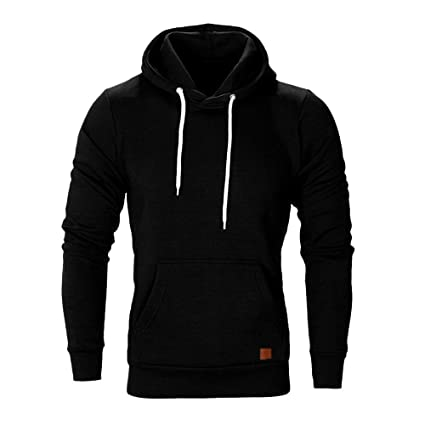 Easytoy Hoodies for Men, Mens Solid Slim Fot Pullover Hooded Sweatshirt Kanga Pocket (Black