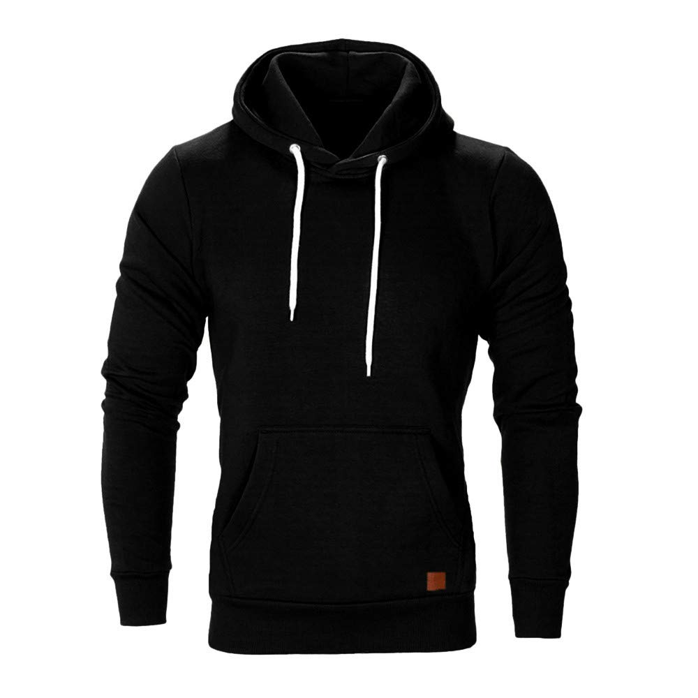 WUAI Men's Lightweight Jacket Hoodie Casual Sweatshirt Slim Fit Solid Color with Front Pocket Outwear Tops (US Size M = Tag L, Black)