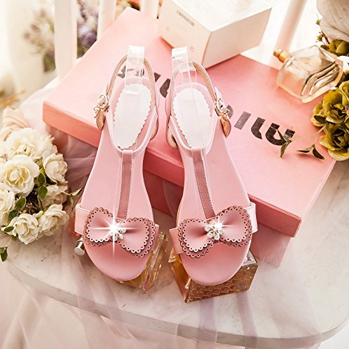 red planas de Pink abierta planas en T de ZHZNVX nuevas arco imitación diamantes tira dulce de sandalias con punta con Zapatos de Sandalias verano 8g8zxqwXB