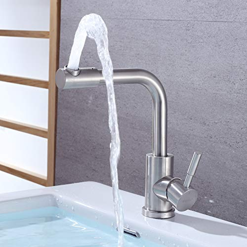 Bathroom Sink Basin Lever Mixer Tap Stainless Steel Basin Faucet Stainless Steel Basin Cold and Hot Washbasin Faucet