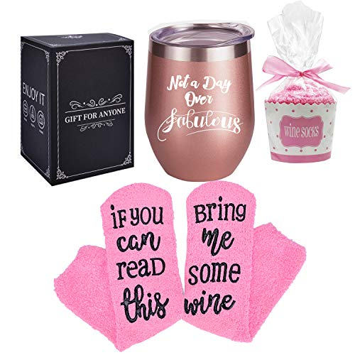 Stainless Steel Wine Tumbler with Cupcake Wine Socks, Wine Gift Set, Insulated Wine Tumbler with Lid, Funny Wine Socks, Best Friends Gift, Best Birthday or Festival Gift for Women, Girl