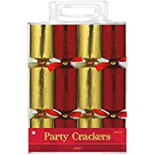 """Festive Christmas Embossed Red and Gold Foil Paper Crackers Party Favour, Paper, 9"""", Pack of 8"""