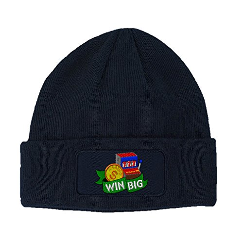 Speedy Pros Gamnling Slot Machine Win Big Embroidery Unisex Adult Acrylic Double Layer Patch Beanie Skully Hat - Navy, One Size