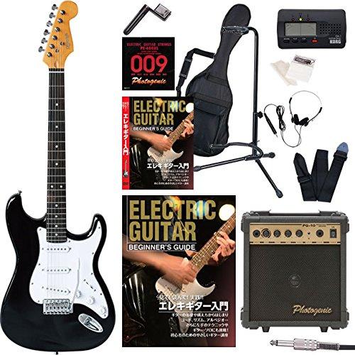 エレキギター 初心者セット ストラト ストラトキャスター タイプ 入門 セット KST-150 入門15点セット 教則DVD/オートチューナー/アンプ Photogenic PG10付属 (BLK) B01IESB8UU BLK BLK