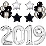 2019 Balloons, Silver for New-Year, Large | Black and Silver Ballon Kit | New Years Eve Party Supplies 2019 | Graduations Party Supplies 2019 | New Years Party Decorations | Graduation Decorations