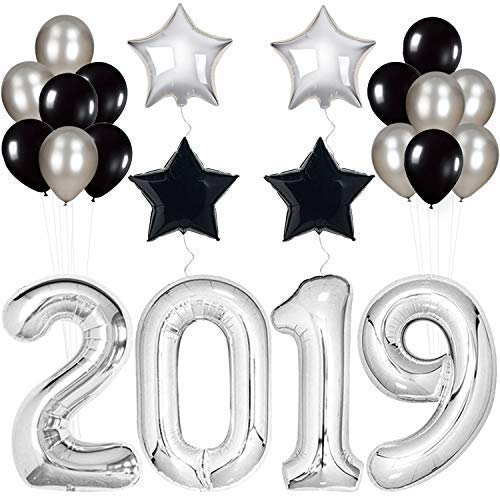 2019 Balloons, Silver for New-Year, Large | Black and Silver Ballon Kit | New Years Eve Party Supplies 2019 | Graduations Party Supplies 2019 | New Years Party Decorations | Graduation Decorations ()