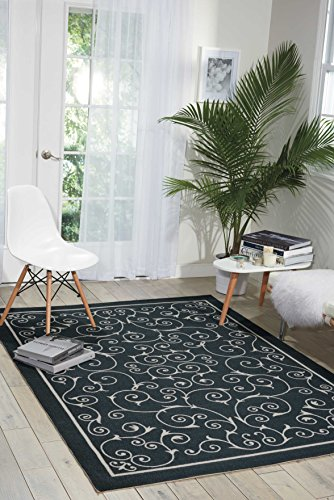 """Nourison Home & Garden (RS019) Black Rectangle Area Rug, 5-Feet 3-Inches by 7-Feet 5-Inches (5'3"""" x 7'5"""") from Nourison"""