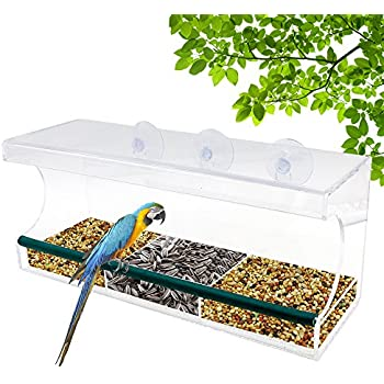 Large Window Bird Feeder, Rusee Durable Acrylic Birdhouses - Holds Bird Seed & Wild Birds - Clear, Removable Tray, Drain Holes, 3 Heavy Duty Suction Cups, Best Gift For Bird Lovers, Kids & Pets