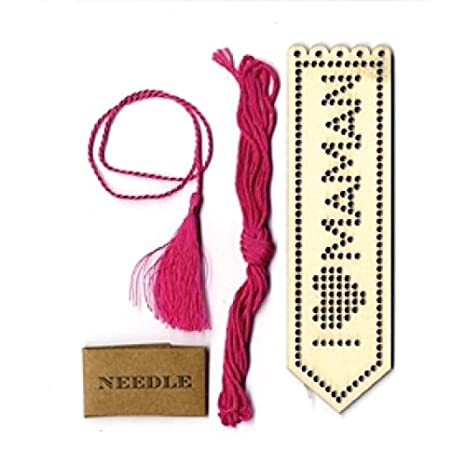 Artemio I Love Mama marcador de libros de madera a bordados en, Beige: Amazon.es: Hogar