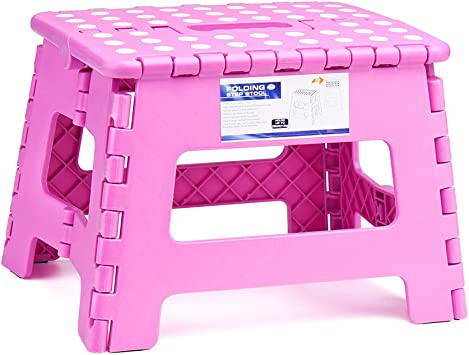 Bedroom Bathroom Kids or Adults. Acko 9Inch Folding Step Stool The Lightweight Step Stool is Sturdy Enough to Support Adults and Safe Enough for Kids Great for Kitchen Opens Easy with One Flip