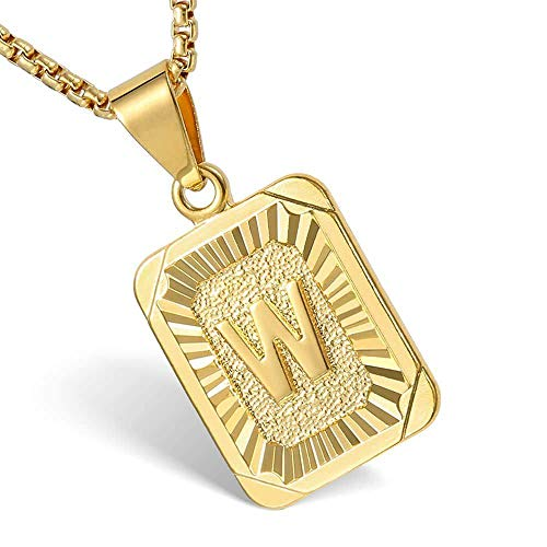 Hermah Gold Plated Square Capital Initial Letter W Charm Pendant Necklace for Men Women Box Steel Chain 22inch Link