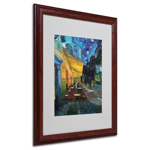 Vincent Van Gogh Cafe Terrace Framed Matted Canvas Art, 16 by 20-Inch ()