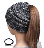 Sorrica Womens Ponytail Beanie Hat Chunky Knit BeanieTail Gray (Small image)
