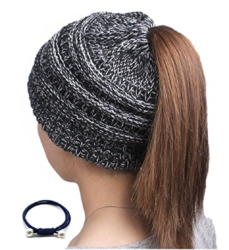 Sorrica Womens Ponytail Beanie Hat Chunky Knit BeanieTail Gray (Large Image)