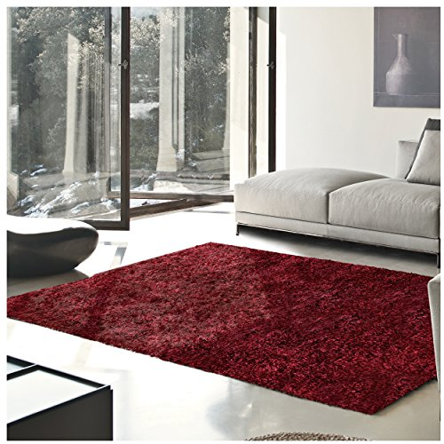 Superior Elegant Shag Rug, Plush and Cozy Hand Tufted Area Rugs, Chic and Contemporary Eyelash Shag Rug with Cotton Backing - 8' x 10' Rug, Burgundy