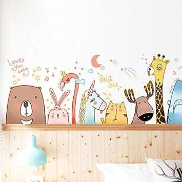 hfwh Pegatinas de Pared, DIY Cartoon Animal Adhesivo Niños Habitación Hogar Decoración Cartel Bebé Regalo Vivero Fondo De Pantalla 51x135cm
