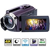 4K Camcorder WIFI Camera Kimire Ultra HD Digital Camera 48.0MP Video Recorder 3.0 Inch 270 Degree Rotation Capacitive Touch Screen Night Vision 16X Digital Zoom Camcorder(HDV-534K)