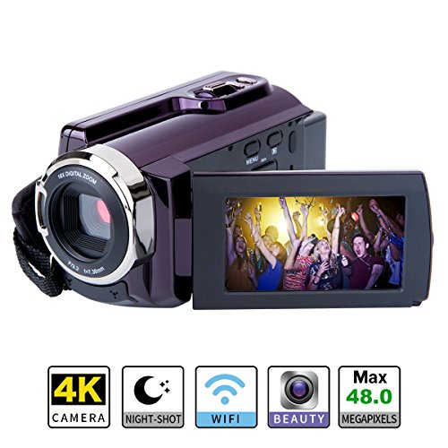 4K Camcorder WIFI Camera Kimire Ultra HD Digital Camera 48.0MP Video Recorder 3.0 Inch 270 Degree Rotation Capacitive Touch Screen Night Vision 16X Digital Zoom Camcorder(HDV-534K) by kimire