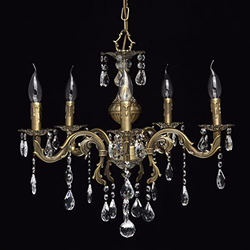 Chandelier and Wall Light Brass Metal Crystal Drops Classic Style Living Room Bedroom, bulbs excl, E14 60W 230V (5 arms)