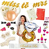 """Exclusive Bachelorette Party Decorations - Bridal Shower Supplies Kit with """"Bride to Be"""" Sash and Satin Veil – Includes Bridesmaid Games, 12 Tattoos, 6 Balloons and 20 Photo Booth Props – Great GlFT"""