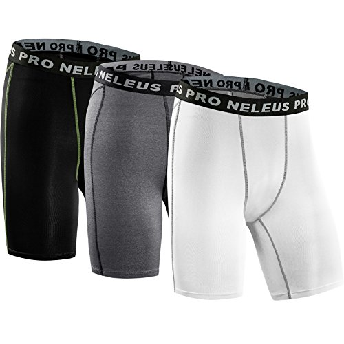 Neleus Men's 3 Pack Compression Short,047#,Black,Grey,White,S