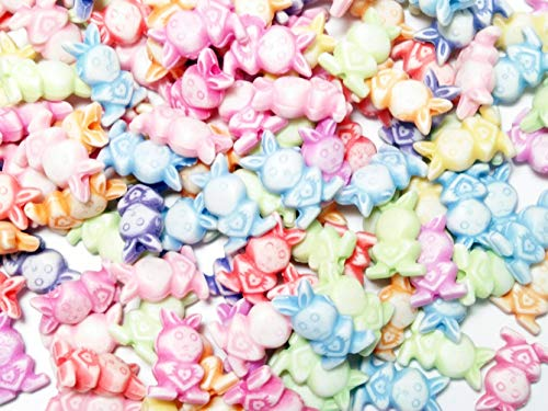 CRAFT KITS by Asia Inter Business Bunny Rabbit Spacer Beads Plastic Pastel Assorted Color Cute 4.75 x 7.49 x 12.94 mm for DIY Jewelry Making Craft Kits Kids Bracelet Necklace Pendant 150 pcs