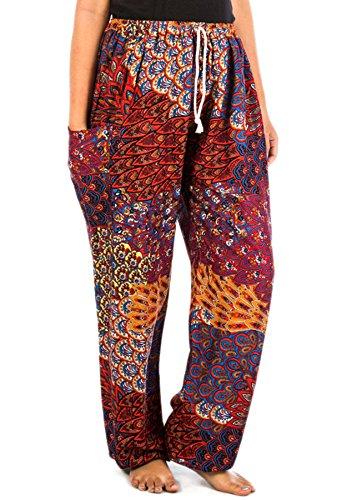 Lofbaz Mujer Pantalones Harem Boho del lazo del pavo real Flaral Funky Peacock 2 Rojo