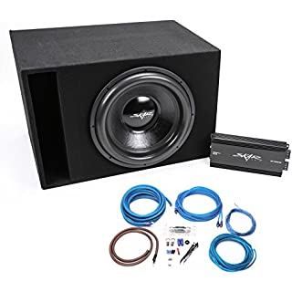 Skar Audio Single 18' 2500 Watt Max Power EVL Series Complete Bass Package with Loaded Box and Amp - Black Carpet