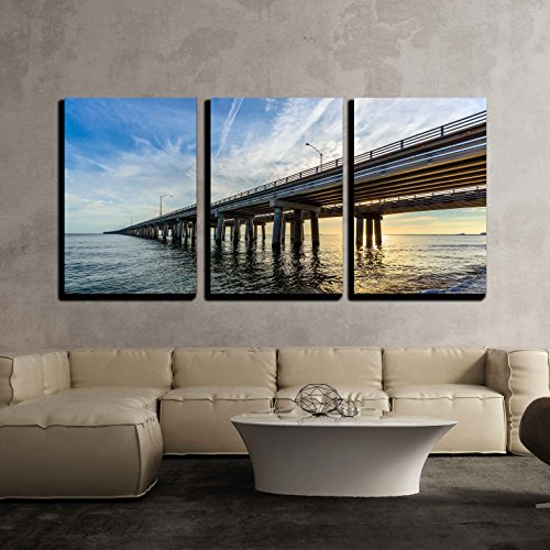 Chesapeake Bay Bridge (wall26 - 3 Piece Canvas Wall Art - Chesapeake Bay Bridge - Modern Home Decor Stretched and Framed Ready to Hang - 16