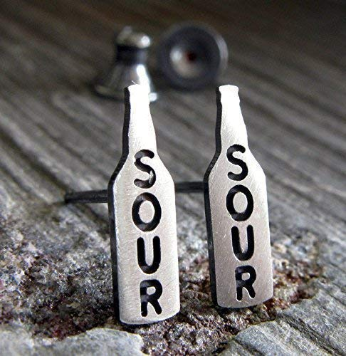 - Sour Beer bottle stud post earrings. Teeny tiny brushed sterling silver jewelry. Handmade in the USA.