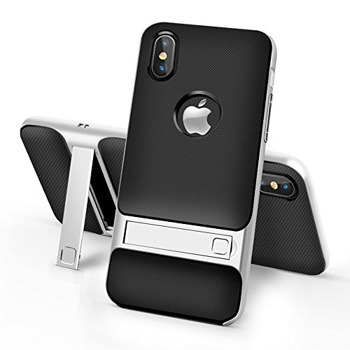 iPhone X Case, IEASSAU iPhone X Kickstand Style Shell Cover with Flexible Inner Protection and Reinforced Hard Bumper Frame for iPhone X (Silver) by IEASSAU