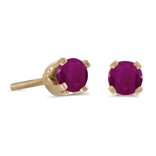 14k Petite Yellow Gold Round Ruby Children s Screw-back Stud Earrings