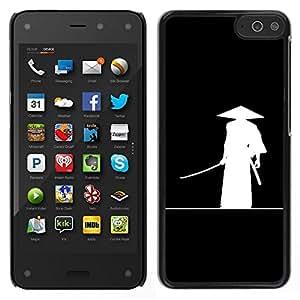 EJOY---Cubierta de la caja de protección para la piel dura ** Amazon Fire Phone ** --Chino antiguo guerrero Sombrero Negro blanco del arte