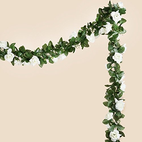 BalsaCircle 6 ft Cream 3D Chain Silk Rose Garlands - Artificial Flowers Wedding Arch Party Home Decorations Supplies