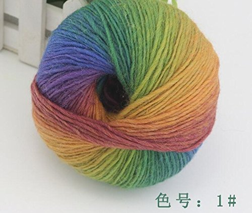 Worsted Wool Cashmere (1 ball 100% wool yarns luxury quality fancy iceland thick Hand knitting for yarn knited Melange yarn Worsted Cashmere Wool Yarn (01))