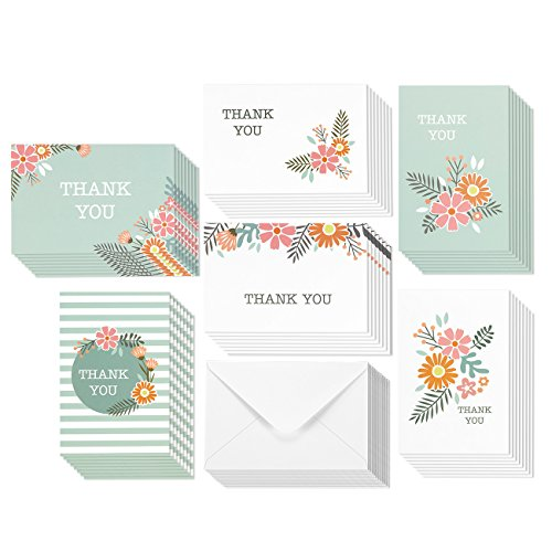 48 Assorted Pack Thank You Note Cards for Her - Bulk Box Set - Blank on the Inside - Feminine Floral Flower Design - Includes 48 Greeting Cards and Envelopes - 4 x 6 Inches