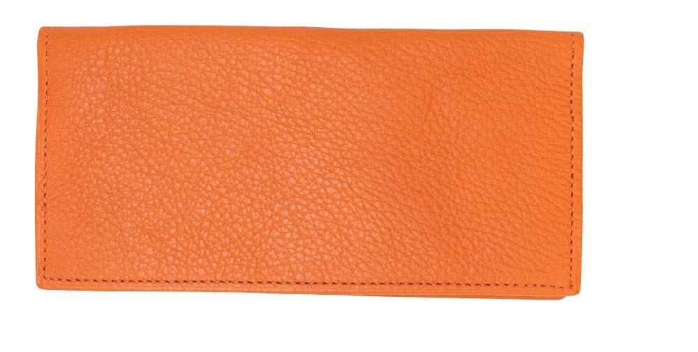 Orange Genuine Colorado Leather Collection Checkbook Cover - American Factory Direct - Made in USA by Real Leather Creations - Prime Quality Register Cover FBA637 by Real Leather Creations