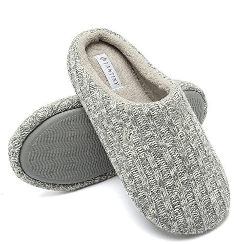 FANTURE Women's House Slippers Indoor Memory Foam Cashmere Cotton-Blend Knitted Autumn Winter Anti-Slip 2nd Upgrated Version,U419WMT029,Light Gray,F,38-39