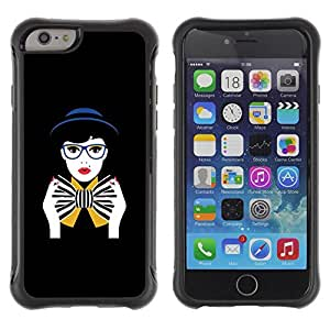 """All-Round Hybrid Rubber Case Hard Cover Protective Accessory Compatible with Apple iPhone 6PLUS ¡ê¡§5.5"""") - bowtie black woman glasses"""