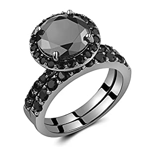 Caperci Black Sterling Silver 925 Black Round Diamond Spinel Solitaire Wedding Ring Bridal Set Size 6