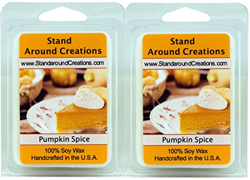 - 100% All Natural Soy Wax Melt Tarts - Set of 2 - Pumpkin Spice: A true-to-life fragrance bursting with fresh pumpkin. Mouthwatering notes of butter, sugar, and spices complete this irresistible bakery fragrance. - 3ozs.ea. - Naturally Strong Scented