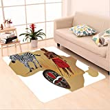 Nalahome Custom carpet ction Africa Map and Tribal Ethnic Cultural Symbols with a Native Local Man Art Work Print Multi area rugs for Living Dining Room Bedroom Hallway Office Carpet (5' X 8')